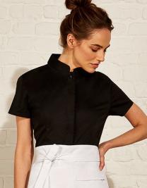 Women`s Bar Shirt Mandarin Collar Short Sleeve
