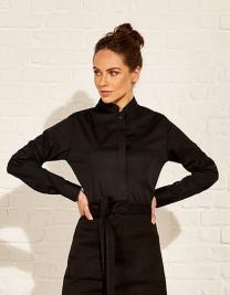 Womens Bar Shirt Mandarin Collar Long Sleeve